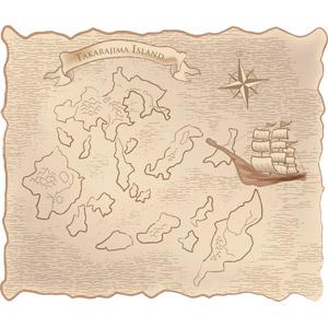 フリーイラスト, ベクター画像, EPS, 地図, 古地図, 宝の地図, 帆船