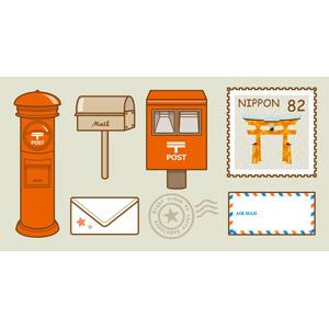 フリーイラスト, ベクター画像, EPS, 郵便, 郵便ポスト, 郵便受け, 切手, 手紙, 封筒, 消印, エアメール