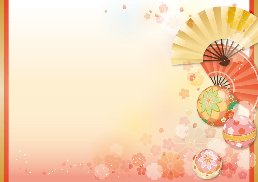 フリー イラスト扇子と毬の和柄の背景