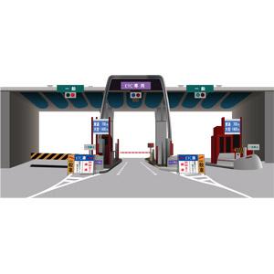 フリーイラスト, ベクター画像, AI, 建造物, 道路, 高速道路, バリケード, 信号機
