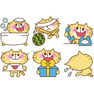 フリーイラスト, ベクター画像, EPS, 動物, 哺乳類, 猫(ネコ), 猫(00008), お風呂, 入浴, スイカ割り, 通話, ラブレター, プレゼント, 告白, 落ち込む(落胆), 失望(絶望), いじける