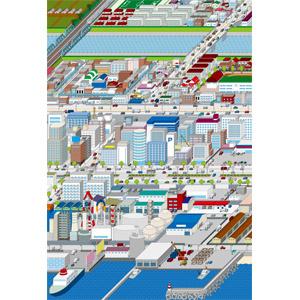 フリーイラスト, ベクター画像, AI, 風景, 建造物, 建築物, 高層ビル, 街(町), 街並み(町並み), 工場, 道路, 橋, 鉄橋, 防波堤, 住宅