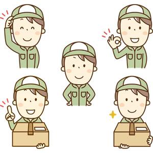 フリーイラスト, ベクター画像, AI, 人物, 男性, 仕事, 職業, 配達員(配送員), 宅配便(宅急便), 荷物, OKサイン, 挨拶, 腰に手を当てる, ワンポイントアドバイス