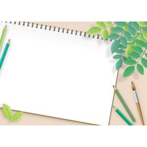 フリーイラスト, ベクター画像, AI, 背景, 植物, 葉っぱ, 画材, 色鉛筆, 鉛筆(えんぴつ), 絵筆(画筆), スケッチブック