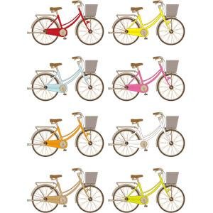 フリーイラスト, ベクター画像, AI, 乗り物, 自転車, ママチャリ(シティサイクル)