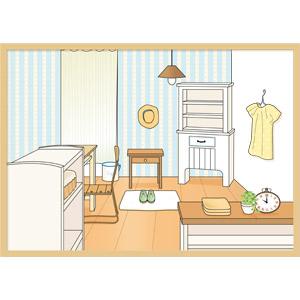 フリーイラスト, ベクター画像, EPS, 風景, 部屋, 家具, フローリング, インテリア
