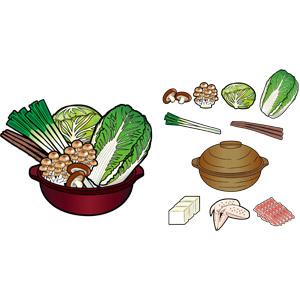 フリーイラスト, ベクター画像, EPS, 食べ物(食料), 料理, 鍋料理, 野菜, 土鍋, 白菜(ハクサイ), キャベツ, しめじ(シメジ), 長ネギ, ごぼう(ゴボウ), 豆腐, 食肉, 鶏肉, 豚肉, 冬