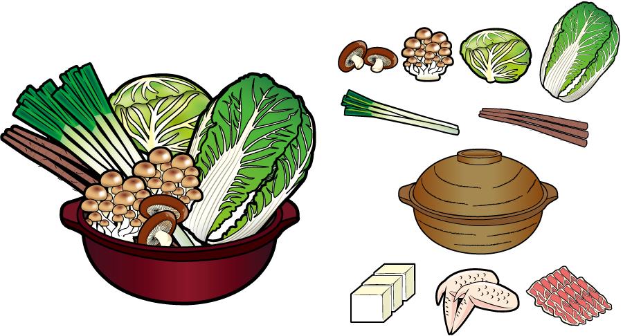 フリー イラスト鍋の具材と土鍋のセット