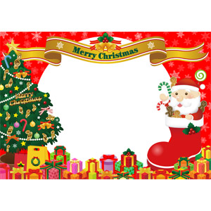 フリーイラスト, ベクター画像, AI, 背景, フレーム, 年中行事, クリスマス, 12月, クリスマスツリー, サンタクロース, サンタブーツ, プレゼント, プレゼント箱, セイヨウヒイラギ, ジンジャーブレッドマン, キャンディケイン, 帯リボン, メリークリスマス, 雪, 冬