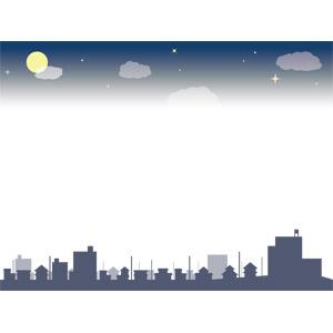フリーイラスト, ベクター画像, EPS, 背景, フレーム, 上下フレーム, 夜, 夜空, 月, 満月, 街(町), 街並み(町並み), シルエット(街)