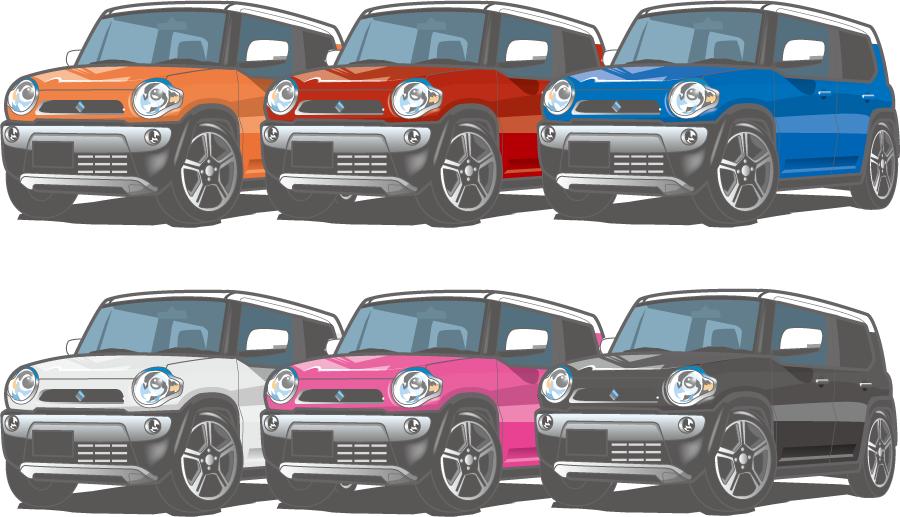 フリー イラスト色の違う6種類のスズキ ハスラー