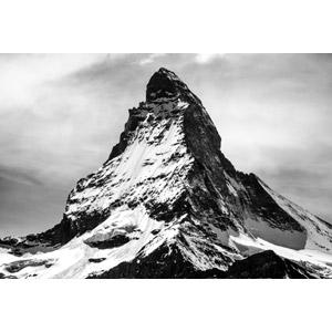 フリー写真, 風景, 自然, 山, 雪, マッターホルン, アルプス山脈, スイスの風景, イタリアの風景, モノクロ