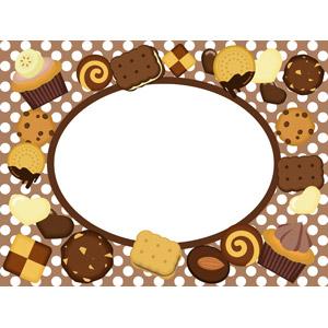 フリーイラスト, ベクター画像, AI, 背景, フレーム, 円形フレーム, 食べ物(食料), 菓子, クッキー(ビスケット), カップケーキ, チョコレート