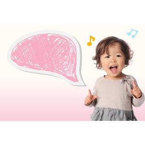 フリー写真, 人物, 子供, 女の子, アジアの女の子, 日本人, 吹き出し, 音符, 女の子(00014)