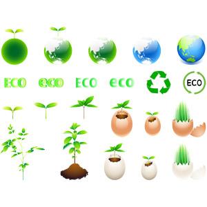 フリーイラスト, ベクター画像, AI, 植物, 新芽, エコロジー, リサイクルマーク, 惑星, 地球, 卵(タマゴ)