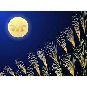 フリーイラスト, ベクター画像, AI, 背景, 年中行事, お月見(観月), 十五夜(中秋の名月), 秋, 薄(ススキ), 月, 満月, 月の兎, 9月, 餅つき, 夜