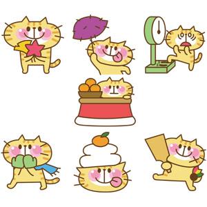 フリーイラスト, ベクター画像, EPS, 動物, 哺乳類, 猫(ネコ), 猫(00008), 紅葉(黄葉), 秋, さつまいも, 体重計(ヘルスメーター), 冬, こたつ, 手袋, マフラー, 鏡餅, 羽子板, 寒い, 落葉(落ち葉)