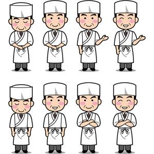 フリーイラスト, ベクター画像, AI, 人物, 男性, 職業, 仕事, 板前, コック(シェフ), 料理人(調理師)