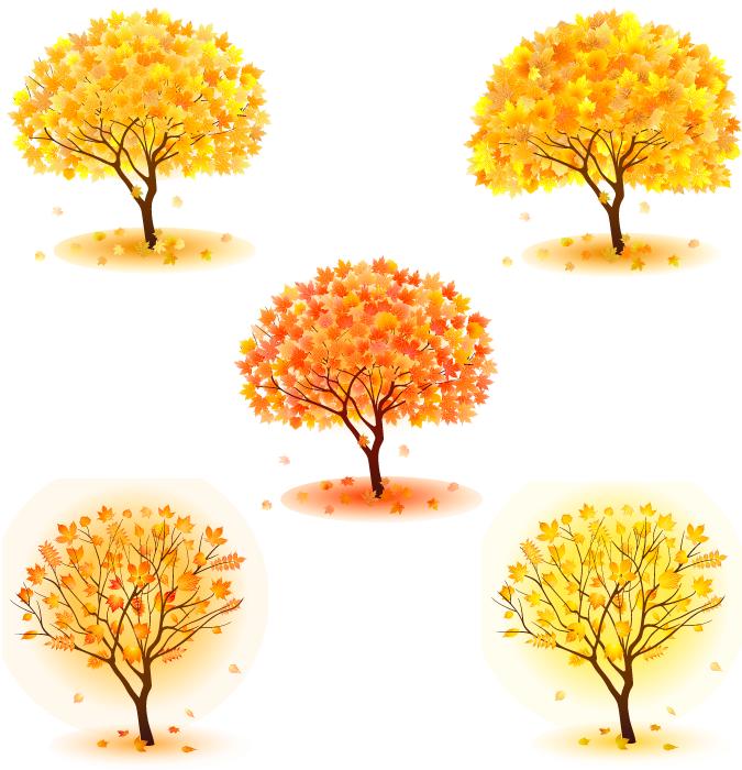 フリー イラスト5種類の紅葉した木のセット