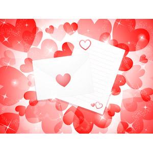 フリーイラスト, ベクター画像, AI, 背景, ハート, ラブレター, 手紙, 愛(ラブ)