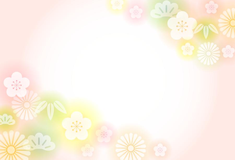 フリー イラスト松と竹と梅と菊の新春の背景