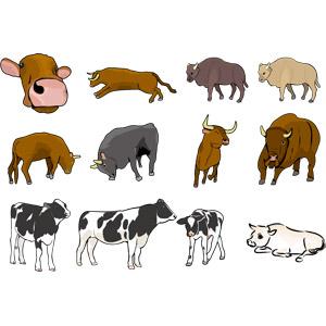 フリーイラスト, ベクター画像, AI, 動物, 哺乳類, 牛(ウシ), アメリカバイソン, ホルスタイン