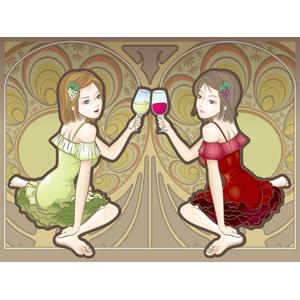 フリーイラスト, ベクター画像, AI, 人物, 女性, 飲み物(飲料), お酒, ワイン, 赤ワイン, 白ワイン, 背景