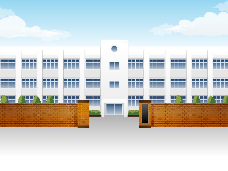 フリー イラスト学校の正門と校舎