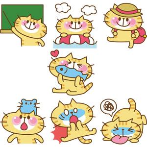 フリーイラスト, ベクター画像, EPS, 動物, 哺乳類, 猫(ネコ), 猫(00008), 教える, 指し棒, 黒板, 浮き輪, 海水浴, ハイキング, 食べる(動物), 鼠(ネズミ), 衝撃(ショック), 吐く, 驚く(動物)