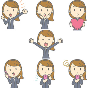 フリーイラスト, ベクター画像, AI, 人物, 女性, 職業, 女性(00017), ビジネスウーマン, OL(オフィスレディ), レディーススーツ, 応援する, 照れる, ハート, 万歳(バンザイ), 通話, スマートフォン(スマホ), 携帯電話, 困る, 喜ぶ(嬉しい), 頬に手を当てる