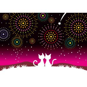 フリーイラスト, ベクター画像, EPS, 動物, 哺乳類, 猫(ネコ), シルエット(動物), 花火, 打ち上げ花火, 流れ星(流星), 夜空, 夜, カップル(動物), 愛(ラブ)