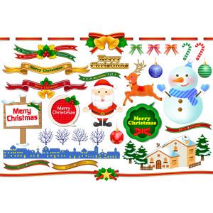 フリーイラスト, ベクター画像, AI, 年中行事, クリスマス, 12月, 冬, サンタクロース, トナカイ, 雪だるま, メリークリスマス, クリスマスボール, キャンディケイン, 帯リボン, 蝶リボン, 街並み(町並み), 家(一軒家), 吹き出し, 立て看板, クリスマスベル