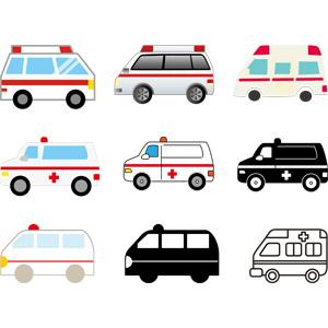 フリーイラスト, ベクター画像, EPS, 乗り物, 自動車, 働く車, 救急車, 医療, 救急医療