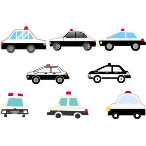 フリーイラスト, ベクター画像, EPS, 乗り物, 自動車, 働く車, パトカー, 警察
