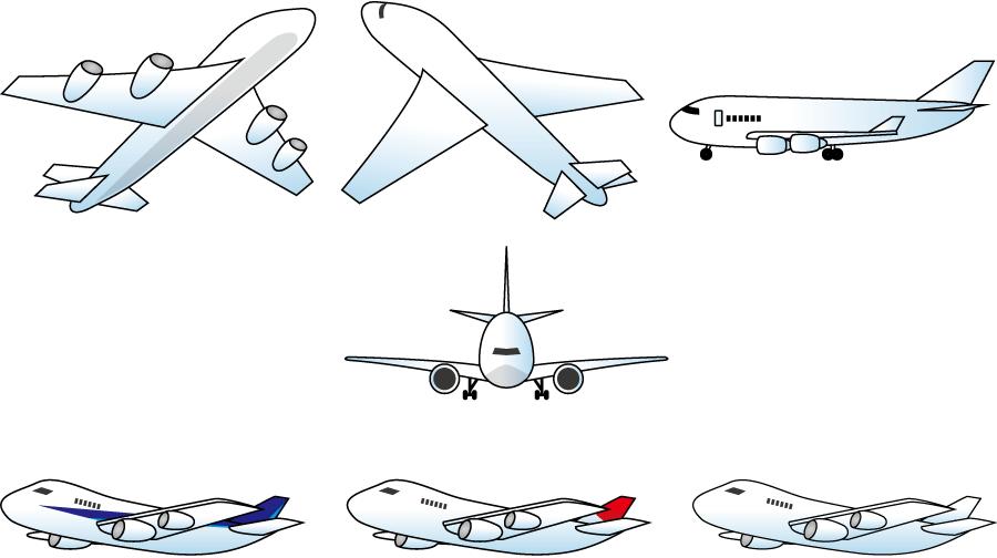 フリー イラスト7種類の旅客機のセット