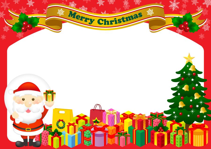 フリー イラストサンタとクリスマスプレゼントの背景