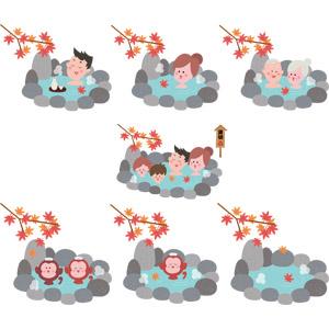 フリーイラスト, ベクター画像, EPS, 温泉, 露天風呂, 入浴, もみじ(カエデ), 紅葉(黄葉), 秋, 日本酒, 家族, 老人, 夫婦, 猿(サル), ニホンザル, 落葉(落ち葉), 徳利(とっくり), 猪口(おちょこ)