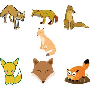 フリーイラスト, ベクター画像, EPS, 動物, 哺乳類, 狐(キツネ)