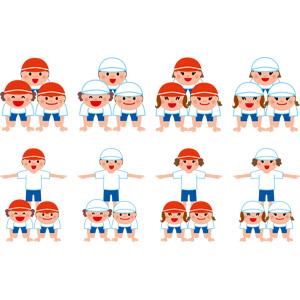 フリーイラスト, ベクター画像, EPS, 年中行事, 年中行事, 運動会(体育祭), 10月, 学校, 人物, 子供, 男の子, 女の子, 学生(生徒), 小学生, 組体操, 人間ピラミッド, 体操服(体操着), 紅白帽