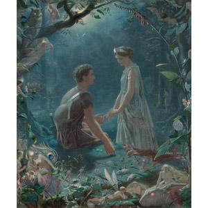 フリー絵画, 物語画, ジョン・シモンズ, シェイクスピアの作品, カップル, 恋人, 妖精(フェアリー), 森林, 梟(フクロウ), コウモリ, 兎(ウサギ)