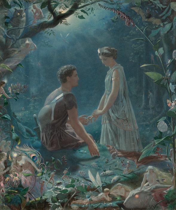 フリー 絵画ジョン・シモンズ作「ハーミアとライサンダー 夏の夜の夢」