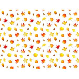 フリーイラスト, ベクター画像, AI, 背景, 植物, 葉っぱ, イチョウ, もみじ(カエデ), 紅葉(黄葉), 秋, 落葉(落ち葉), どんぐり(ドングリ)