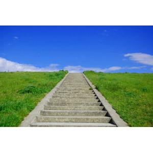 フリー写真, 風景, 土手, 階段, 青空, 草むら, 日本の風景