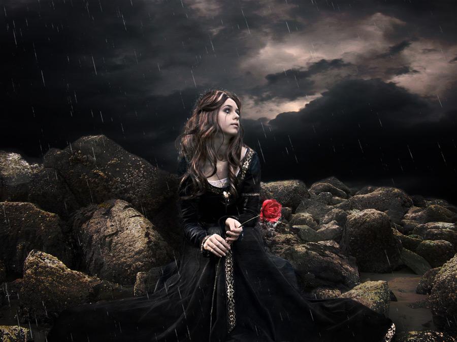 フリー 写真嵐の中バラの花を持つ外国人女性