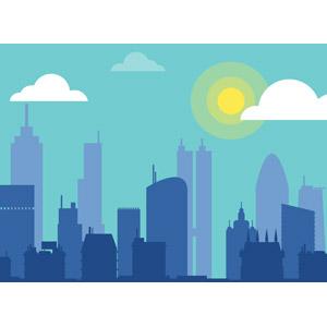 フリーイラスト, ベクター画像, SVG, 風景, 建造物, 建築物, 高層ビル, 都市, シルエット(街), 青空