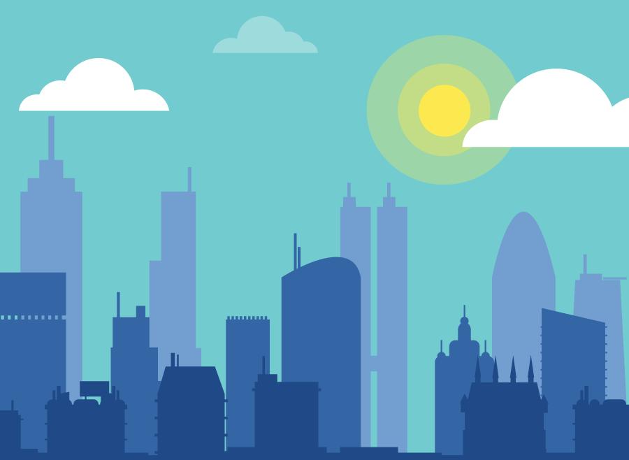 フリー イラスト青空と高層ビルの建ち並ぶ都市の風景