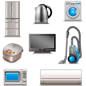 フリーイラスト, ベクター画像, AI, 家電機器, 冷蔵庫, 電気ケトル, 洗濯機, 炊飯器, テレビ(TV), 液晶テレビ, 掃除機, 電子レンジ, エアコン