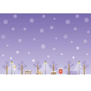 フリーイラスト, ベクター画像, EPS, 風景, 街(町), 夜, 雪, 冬, 街灯, 郵便ポスト, 自転車, 停留所, ベンチ