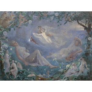 フリー絵画, 物語画, ジョン・シモンズ, シェイクスピアの作品, 妖精(フェアリー), 森林, 栗鼠(リス), 鼠(ネズミ), 寝る(寝顔), 夏の夜の夢