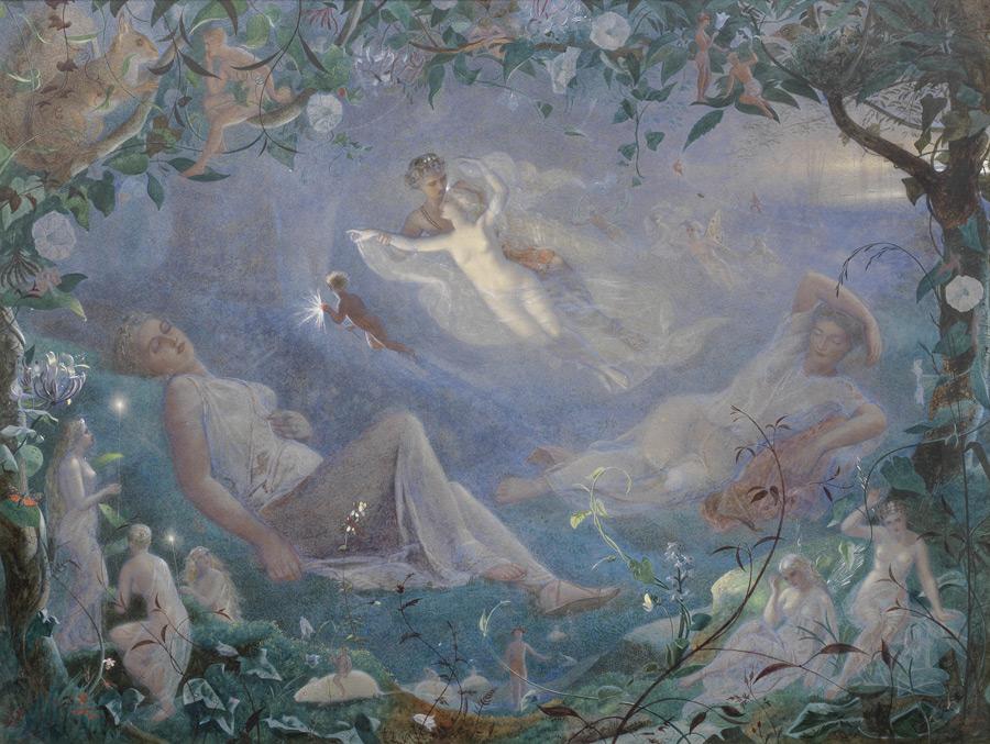 フリー 絵画ジョン・シモンズ作「夏の夜の夢のシーンより」